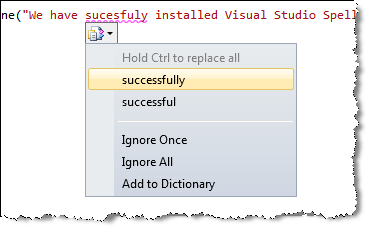 visual studio spell checker suggestions